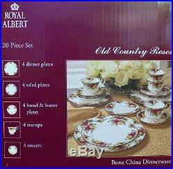 Royal Albert Classic Old Country Roses 20-pc Gold Rim Bone China Dinnerware NIB