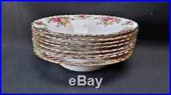 Royal Albert England Bone China Old Country Roses Set of 8 Rimmed Soup Bowls