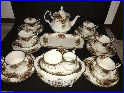 Royal Albert England Old Country Roses Bone China 24 Piece Tea Set Service for 6