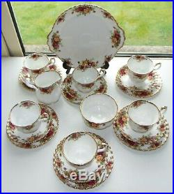 Royal Albert Fine Bone China Old Country Roses 21 PC Cups Saucers Plates Milk