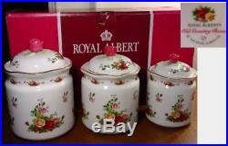 Royal Albert OLD COUNTRY ROSES 3 Piece Canister Set NEW / BOX