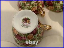 Royal Albert OLD COUNTRY ROSES CHINTZ Teapot & 4 Cups & Saucers