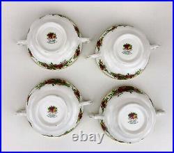 Royal Albert OLD COUNTRY ROSES Set 4 CREAM SOUP BOWLS & SAUCERS MINT MadeENGLAND