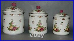 Royal Albert Old Country Rose 3 Piece Kitchen Canister Set