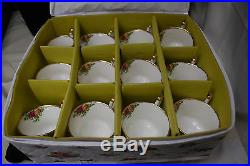 Royal Albert Old Country Roses 10 Footed Cups, Creamer, Sugar with Case S7757