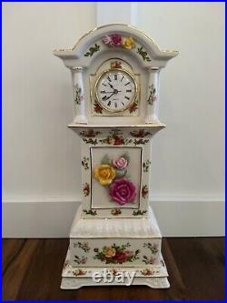 Royal Albert Old Country Roses 15.5 Fine China Mini Grandfather Mantle Clock