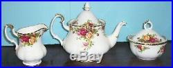 Royal Albert Old Country Roses 1962 Tea Pot Cream & Sugar Never Used Free Ship