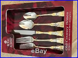Royal Albert Old Country Roses 20 Piece Stainless/gold Flatware Service For 4