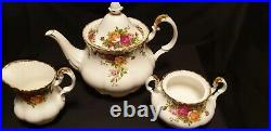 Royal Albert Old Country Roses 22 Piece Tea Set Large Pot, 6x Trio England