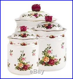 Royal Albert Old Country Roses 3 PIECE CANISTER SET With Lids $200 New Large Box