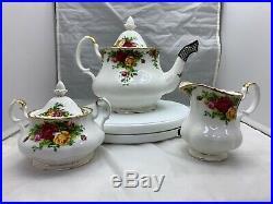 Royal Albert Old Country Roses 3-Piece Teapot Cup Creamer Tea Set