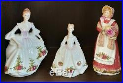 Royal Albert Old Country Roses 3 lady figurines in excellent condition