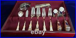 Royal Albert Old Country Roses 45 Piece Stainless svc for 8 Flatware in Chest