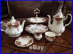 Royal Albert Old Country Roses 6 Piece Coffee Tea Tray Sugar Creamer Trivet Set