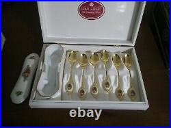 Royal Albert Old Country Roses 6 Teaspoons Porcelain Inserts and Spoon Caddy