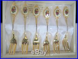 Royal Albert Old Country Roses 6 x Gold Gilt Cake Forks+ Cake Server AS NEW