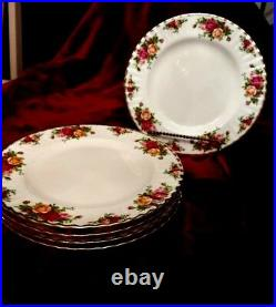 Royal Albert Old Country Roses Bone China Set of 6 Dinner Plates England 1962