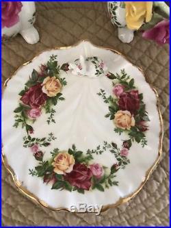 Royal Albert Old Country Roses Bunny Sugar Bowl, Creamer, Dish & Spoon Set