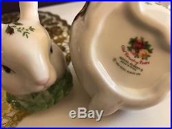 Royal Albert Old Country Roses Bunny Tea Set-Teapot, Sugar Bowl And Creamer