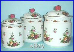 Royal Albert Old Country Roses Canister Set 3 Piece $200 New Large Box
