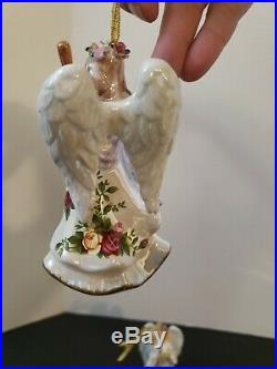 Royal Albert Old Country Roses China 3-Piece Musical Angel Ornaments figurine