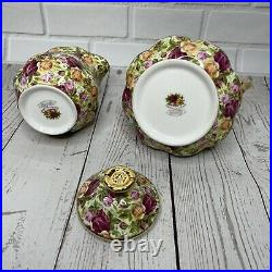 Royal Albert Old Country Roses Chintz Collection Creamer & Sugar 1999 Vintage