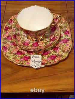 Royal Albert Old Country Roses Chintz Sugar bowl & Trio Cup Saucer & Large Plate