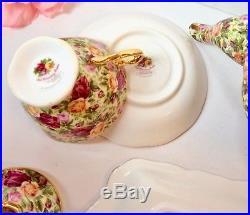 Royal Albert Old Country Roses Chintz Tea Set Teapot Teacups Sugar Creamer Tray