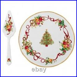 Royal Albert Old Country Roses Christmas Tree Low Cake Plate and Server New