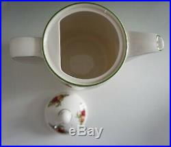 Royal Albert Old Country Roses Coffee Pot with Lid Green Trim Made in England