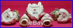 Royal Albert Old Country Roses Easter Bunny Rabbit Teapot & Sugar & Creamer Set