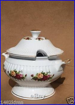 Royal Albert Old Country Roses Footed Soup Tureen Casserole Vegetable Bowl Lid