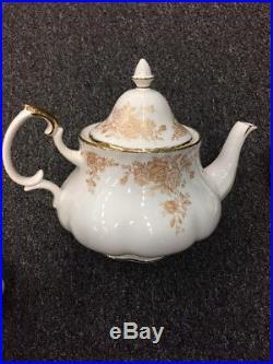 Royal Albert Old Country Roses GOLD Tea Pot, Cream Pitcher & Sugar Bowl Set