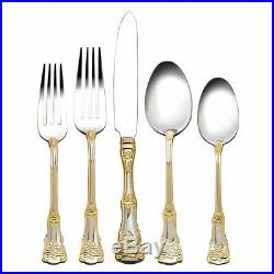 Royal Albert Old Country Roses Gold Accent Stainless Flatware 60 Piece Set of 12
