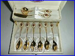 Royal Albert Old Country Roses Gold Plated Porcelain Spoon & Server Set
