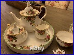 Royal Albert Old Country Roses LOT Teapot Cream Sugar 12 Cup & Saucers Platters