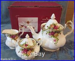 Royal Albert Old Country Roses Large Tea Pot Sugar Bowl Creamer England In Box