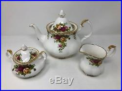 Royal Albert Old Country Roses Large Teapot Sugar Bowl & Creamer