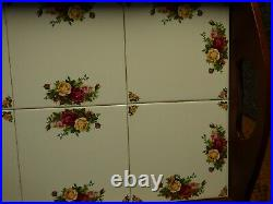 Royal Albert Old Country Roses Large Wood & 6 Tiles Serving Tray With Handles