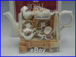 Royal Albert Old Country Roses Miniature Teapot Market Stall Show Wagon Cardew