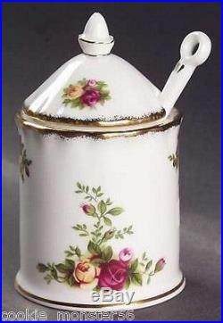 Royal Albert Old Country Roses Mustard Jar + Spoon RARE