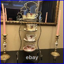 Royal Albert Old Country Roses Pair Candle Holders Gold Plated Royal Doulton