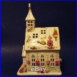 Royal Albert Old Country Roses Porcelain Electric Church Light. Chapel Figurine