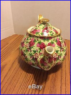 Royal Albert Old Country Roses Ruby Celebration Green Chintz Tea pot
