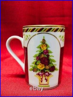 Royal Albert Old Country Roses Seasons of Color Xmas Red Topiary Mugs NEW NoTags