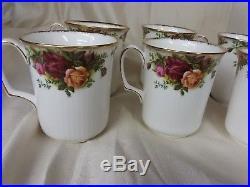 Royal Albert Old Country Roses Set of 6 Ribbed Mugs Plus Coffee Pot Server Nice