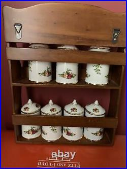 Royal Albert Old Country Roses Spice Rack With 7 Containers Unused Labels