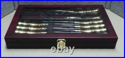 Royal Albert Old Country Roses Steak Knife & Carving Set & Case Gold & Stainless