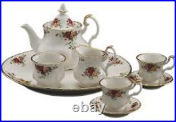 Royal Albert Old Country Victorian Floral Roses Mini Tea Pot Cup Gold Set 9