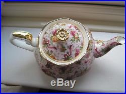 Royal Albert Pink Chintz Large Teapot + Sugar Ruby Celebration Old Country Roses